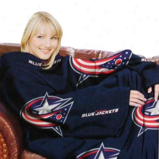 Columbus Blue Jackets Navy Blue Team Logo Print Unisex Comfy Throw