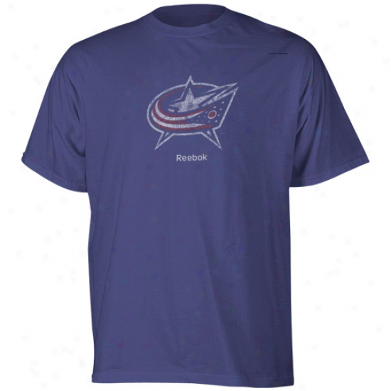 Columbus Blue Jackets Tee:  Reebok Columbus Blue Jackets Navy Blue Faded Logo Tee