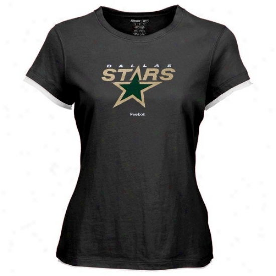 Dallas Star Apparel: Reebok Dallas Star Ladies Black Logo Premier Cap Sleeve Tissue T-shirt