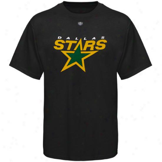 Dallas Star Attire: Old Time Hockey Dallas Star Black Big Logo T-shirt