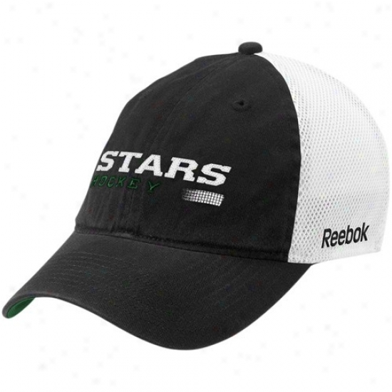 Dallas Star Caps : Reebok Dallas Star Black Official Team Mesh Back Flex Fit Caaps