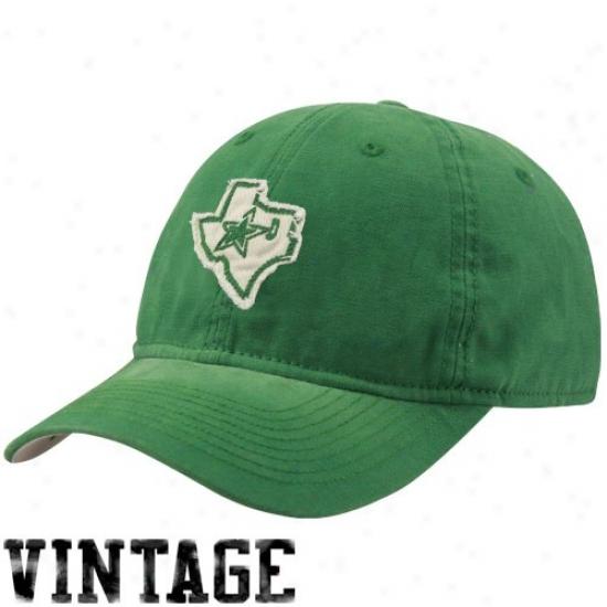 Dallas Star Grar: Reebok Dallas Star Kelly Green Sandblasted St. Paddy's Day Adjustable Slouch Hat