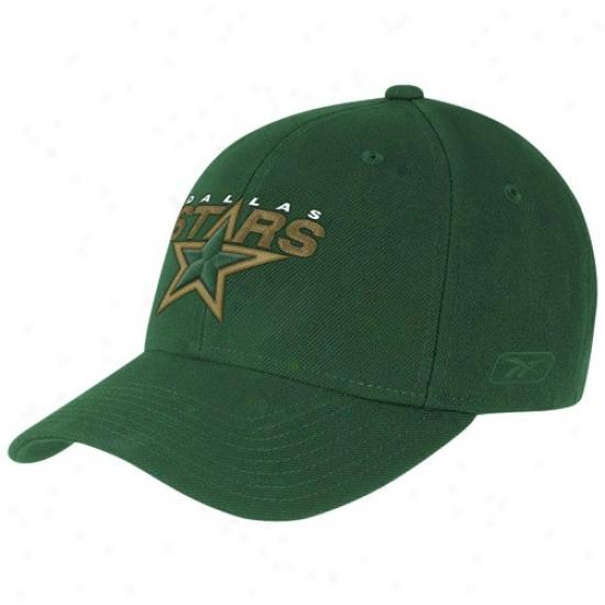 Dallas Star Hat : Reebok Dallas Star Green Basic Logo Wool Blend Adjustable Hat