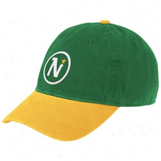 Dallas Star Cardinal's office : Reebok Minnesota North Stars Green Vintage Logo Slouch Hat