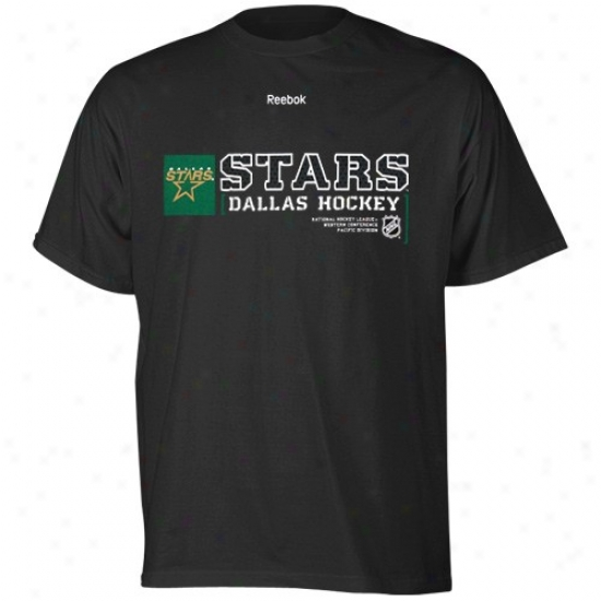 Dallas Star Tshirts : Reebok Dallas Asterisk Black Invoke Sign Tshirts