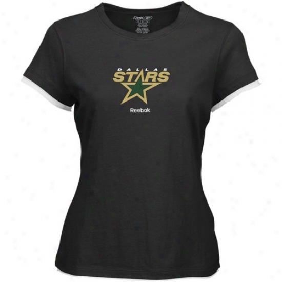 Dallas Star Tshirta : Reebok Dallas Star Ladies Black Logo Premier Cap Sleeve Tissue Tshirts