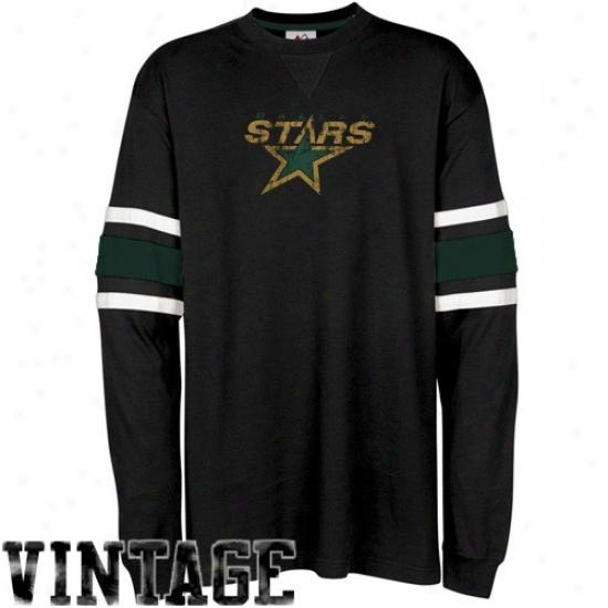 Dallas Stars Attire: Majestic Dallas Stars Black Termination Of The Line Long Sleeve Vintage T-shirt