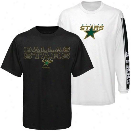 Dallas Stars Attire: Reebok Dallas Stars Black-white 3-in-1 T-shirt Combo Pack