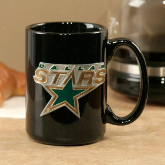 Dallas Stars Black 15oz. Pewter Logo Ceramic Mug