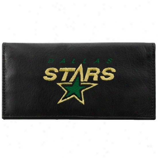 Dallas Stars Black Leather Embroidered Checkbook Cover