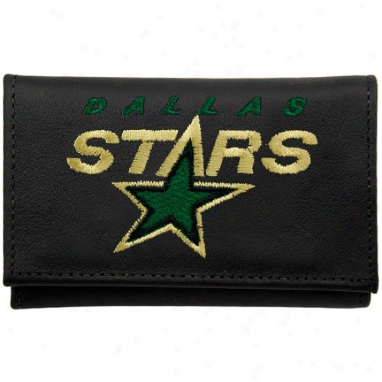 Dallas Stars Black Leather Embroidered Tri-fold Waloet