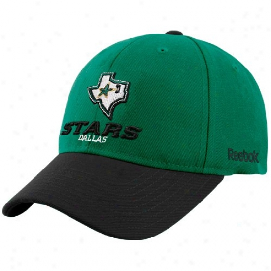 Dallas Stars Cap : Reebok Dallas Stars Green Official Color Blocked Adjustable Cap