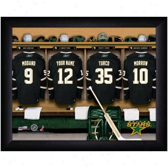 Dallas Sttars Customized Locker Room Black Framed Photo