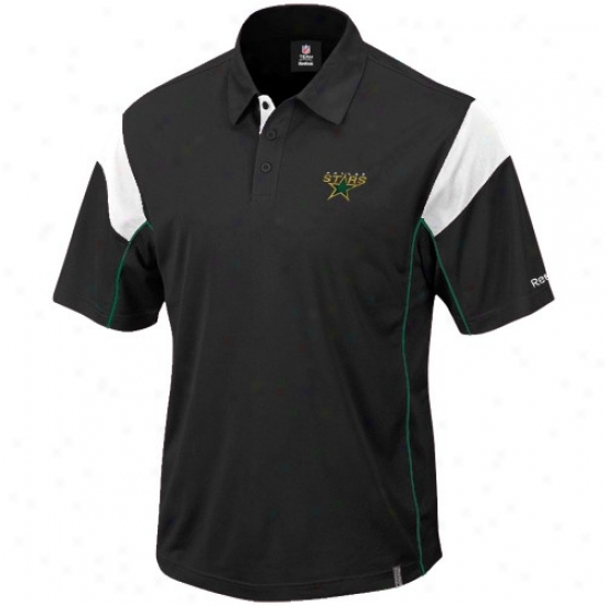 Dallas Stars Golf Shirts : Reebok Dallas Stars Black Victory Golf Shirts