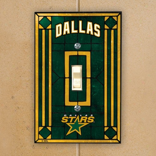 Dallas Stars Verdant Art-glass Switch Plate Cover