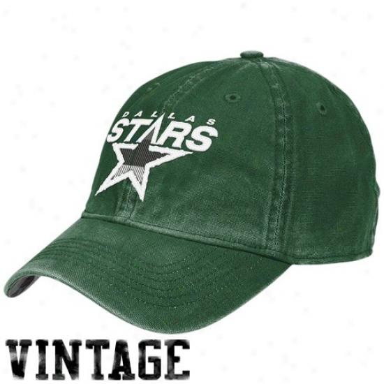 Dallas Stars Hat : Reebok Dallas Stars Green Distressed Logo Vintage Slouch Hat