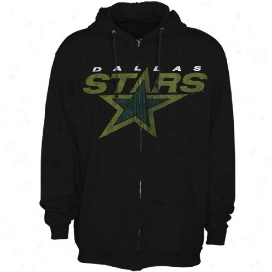 Dallas Stars Hoodies : Majestic Dallas Stars Black Official Logo Full Zip Hoodies