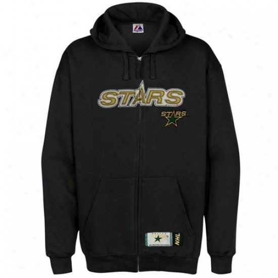 Dallas Stars Jackets : Majestic Dallas Stars Blsck Classic Full Zip Hoody Sweatshirt