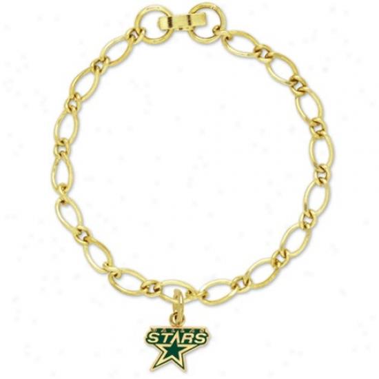 Dallas Stars Ladies Gold-tone Charm Bracelet