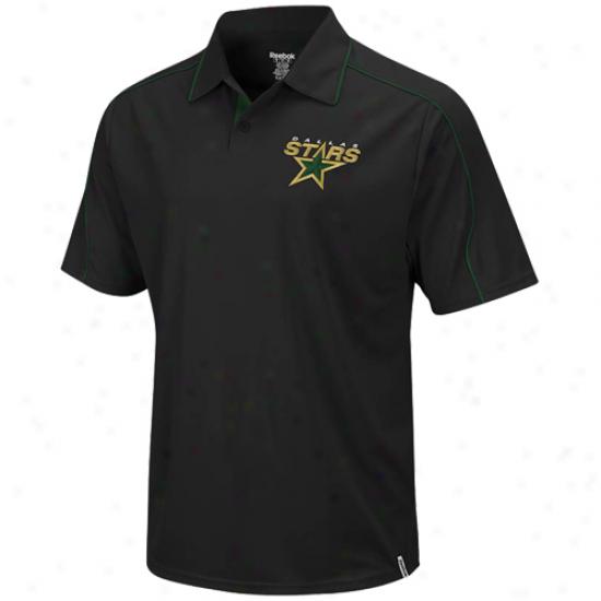 Dallas Stars Polos:  Reebok Dallas Stars Black Arena Polos