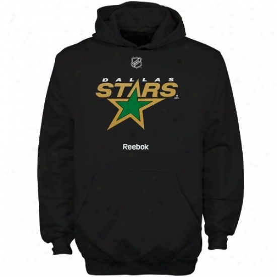 Dallas Stars tSuff: Reebok Dallas Stars Youth Black Primary Logo Hoody Sweatshirt
