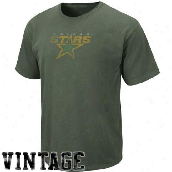Dallas Stars T Shirt : Majestic Dallas Stars Green Big Time Play Vintage T Shirt