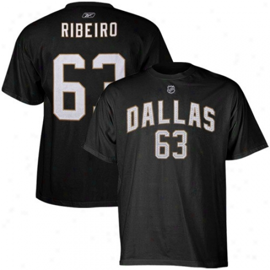 Dallas Stars Tshirt : Reebok Dallas Stars #63 Mike Ribeiro Black Player Tshirt