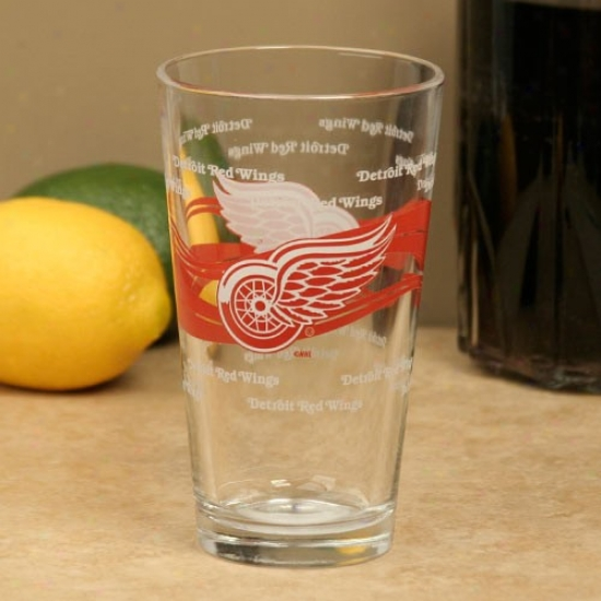 Detroit Red Wings 16oz. Satin Etch Pint Glass