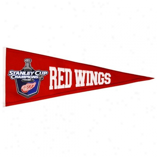 Detroit Red Wings 2008 Nhl Champions Medium-sized Wool Traditions Pennant