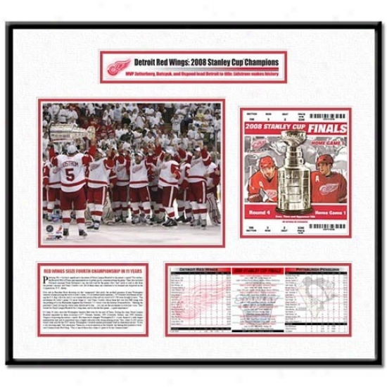 Detroit Red Wings 2008 Stanley Cup Finals Lidstrom Hoists Cup Ticket Frame