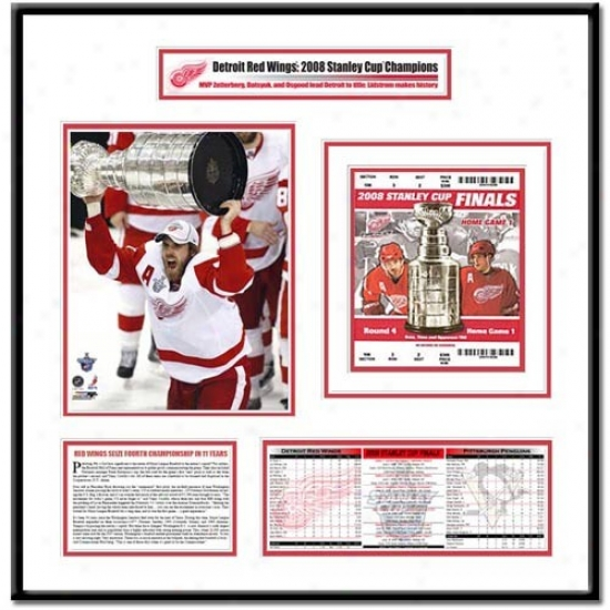 Detroit Red Wings 2008 Stanley Cup Finals Zetterberg With Cup Ticket Frame