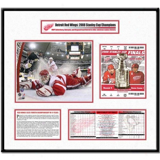 Detroit Red Wings 2008 Stanley Cup Osgood Final Save Ticket Frame