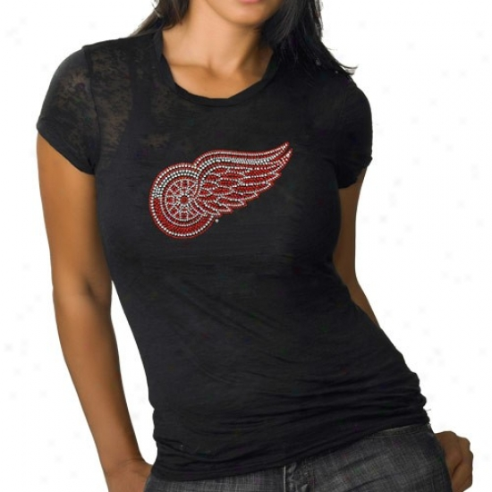 Detroit Red Wings Apparel: Detroit Red Wings Ladies Black Rhinestone Burnout Premium T-shirt