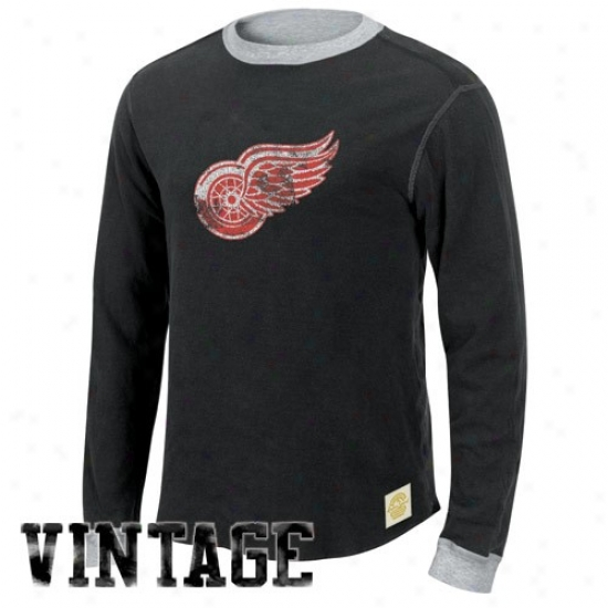 Detroit Red Wings Apparel: Reebok Detroit Red Wings Black-ash Reversible Double Knit Long Sleeve Vintage T-shirt