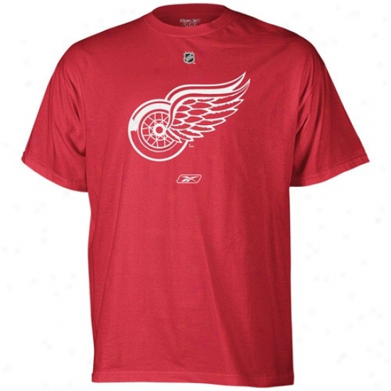 Detroit Res Wings Apparel: Reebok Detroit Red Wings Red Primary Logo T-shirt
