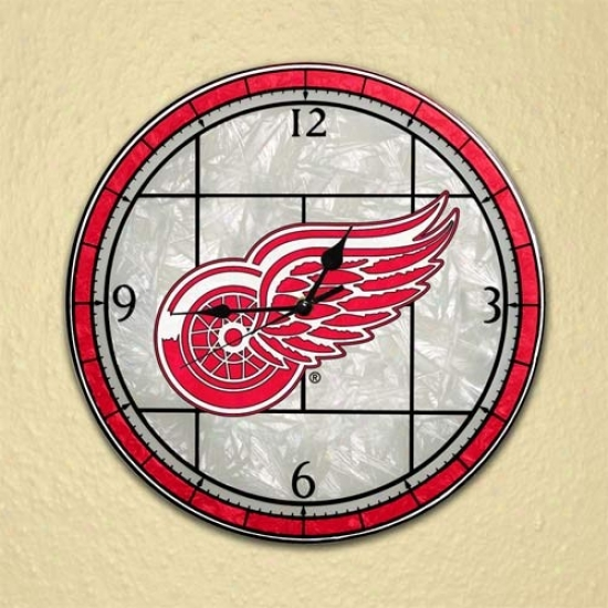 Detroit Red Wings Art-glass Wall Clock