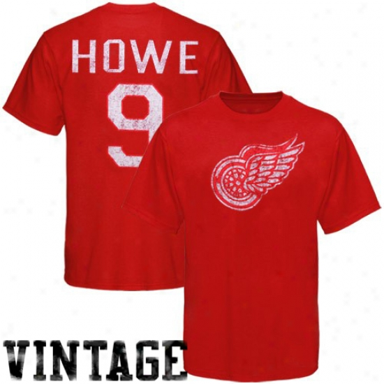 Detroit Red Wings Attire: Old Time Hockey Detroit Red Wingq #9 Gordie Howe Red Alumni Vintage Player T-shirt