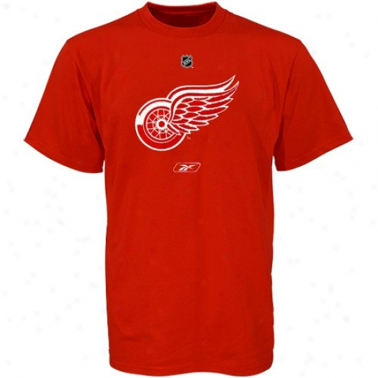 Detroit Red Wings Attire: Reebok Detroit Red Wings Youth Red Primary Logo T-shirt