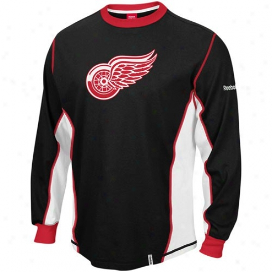 Detroit Red Wings Dress: Reebok Detroit Red Wings Black Downforce Constructed Far-seeing Sleeve Premium T-shirt
