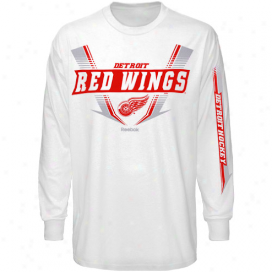 Detroit Red Wings Dress: Reebok Detroit Red Wings White Supermoto Long Sleeve T-shirt