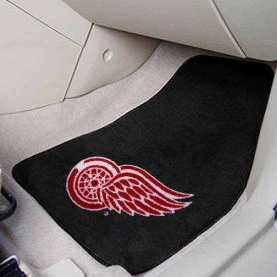 Detroit Red Wings Black 2-piece Carpet Car Mat Set