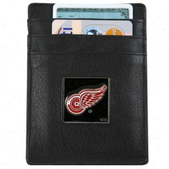 Detroit Red Wings Black Leather Card Holedt & Money Clip