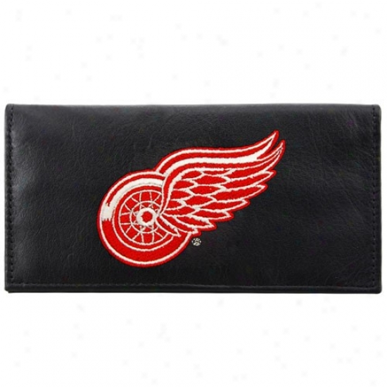 Detroit Red Wings Black Leather Embroidered Checkbook Cover
