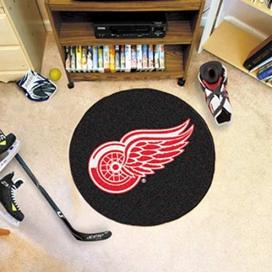 Detroit Red Wings Dismal Round Hockey Puck Mat
