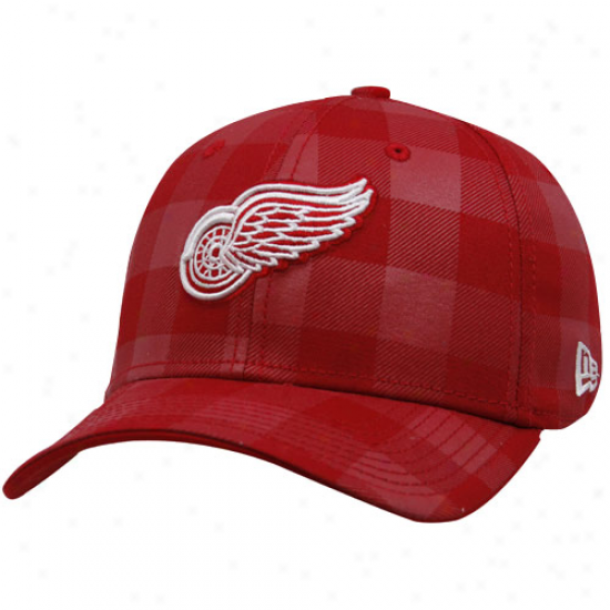 Detroit Red Wings Cap : New Era Detroit Red Wings Red Plaid B-lo 39thkrty Stretch Fit Cap