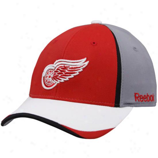 Detroit Red Wings Cap : Reebok Detroit Red Wings Boy Gray 2010 Draft Day Flex Fit Cap