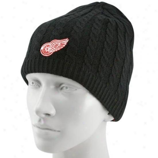 Detroit Red Wings Cwp : Reebok Detroit Red Wings Ladies Black Cable Knit Beanie