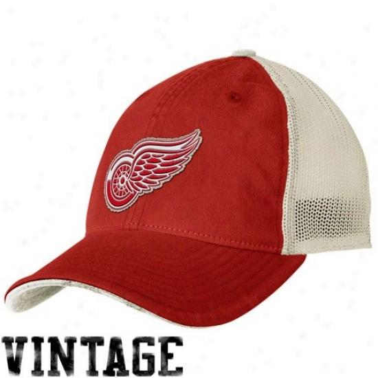 Detroit Red Wings Cap : Reebok Dettroit Red Wings Red-natural 2009 Nhl Premier Vintage Flex Suitable Cap
