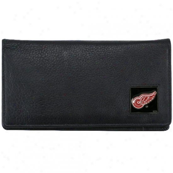 Detroit Red Wings Executive Black Leather Checkbook Cover