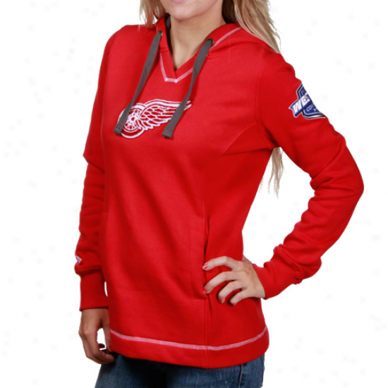 Detroit Red Wings Fleece : Majestic Detroit Red Wings Ladies Red Pucker Up Pullover Fleece
